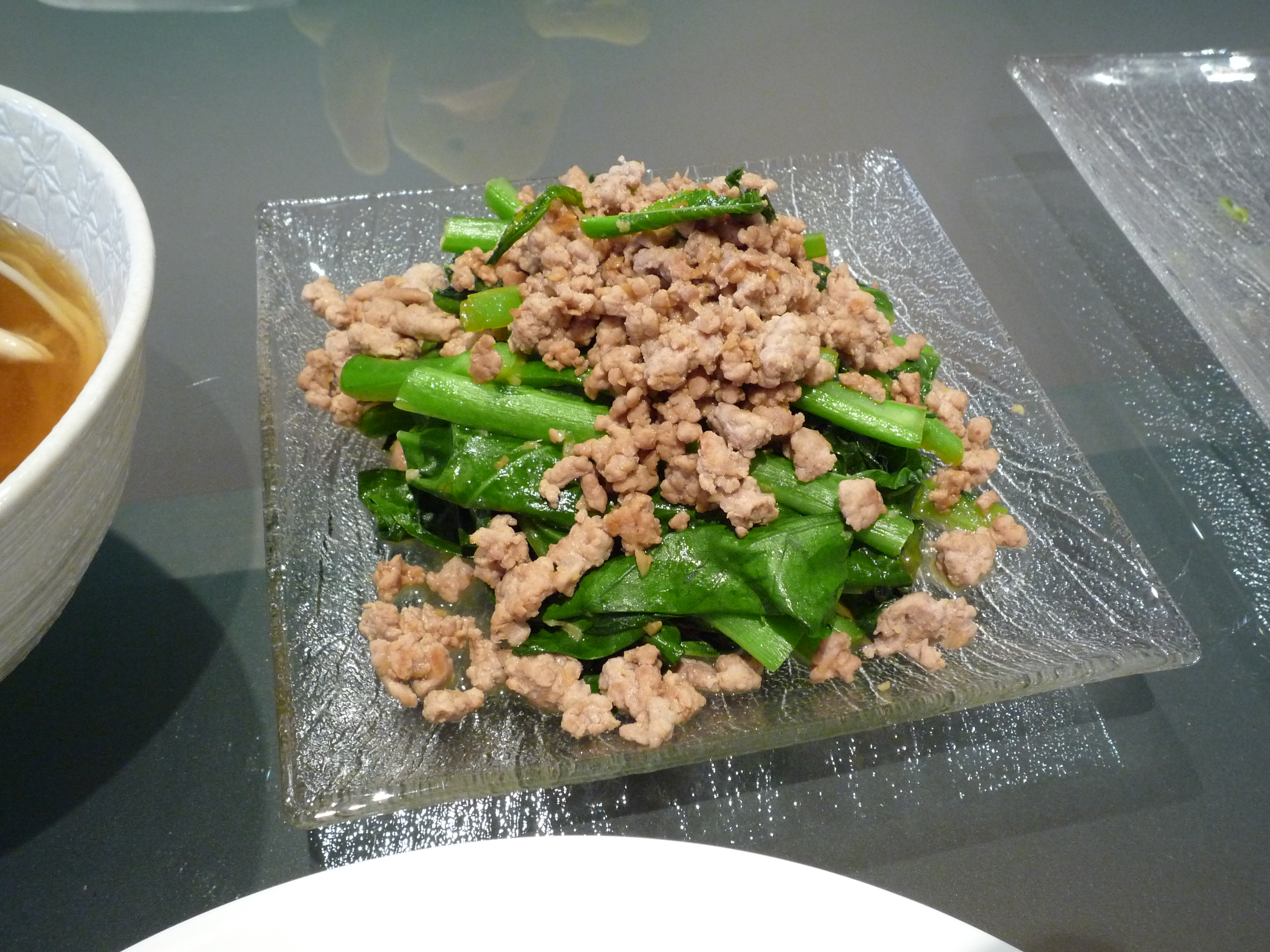 Chinese broccoli with mince pork (made very tasty with the cheat ...
