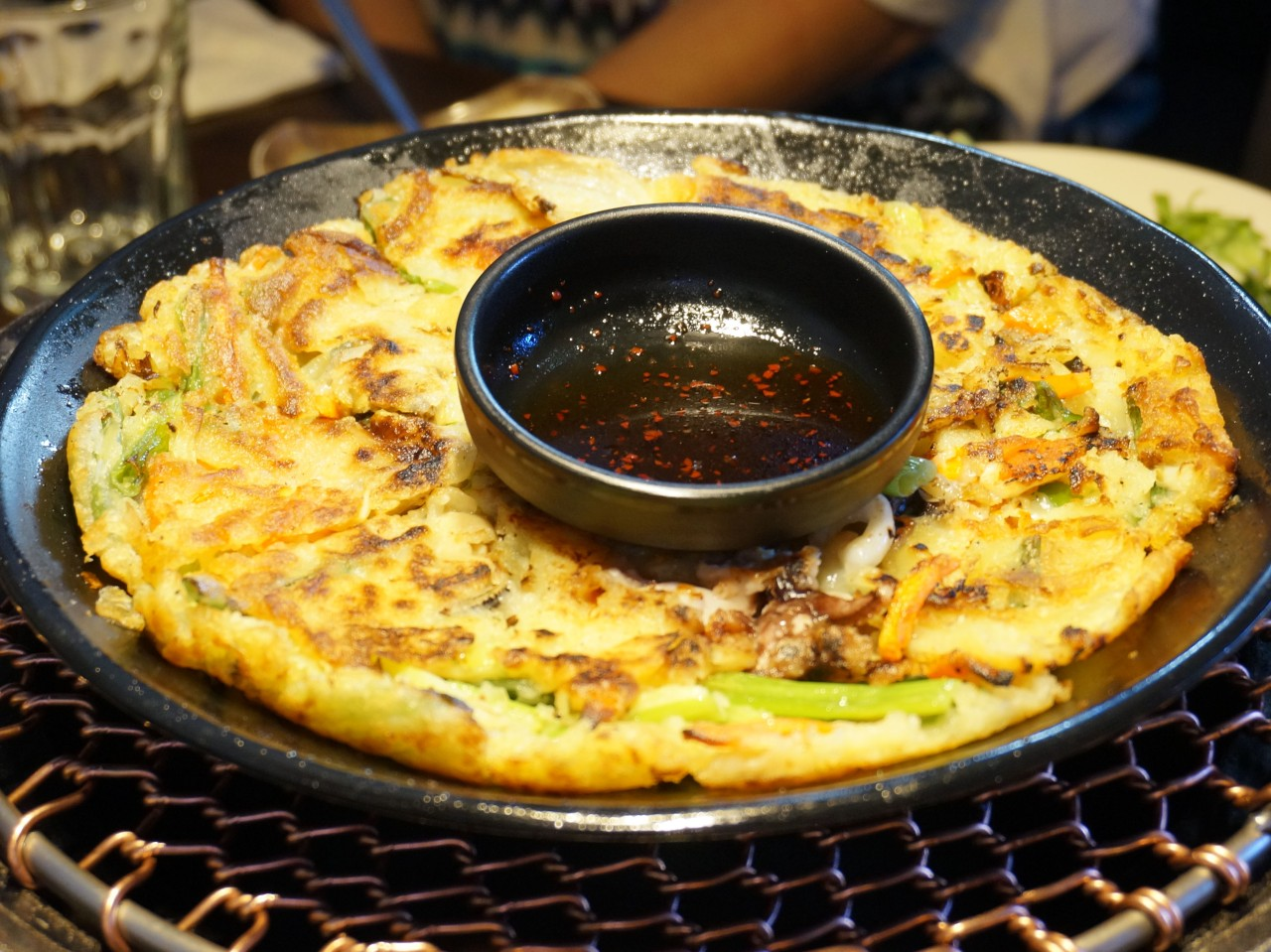 Seafood pancake - really tasty with lots and lots of vegetables.  Central sweet chilli type of dressing to accompany the dish.