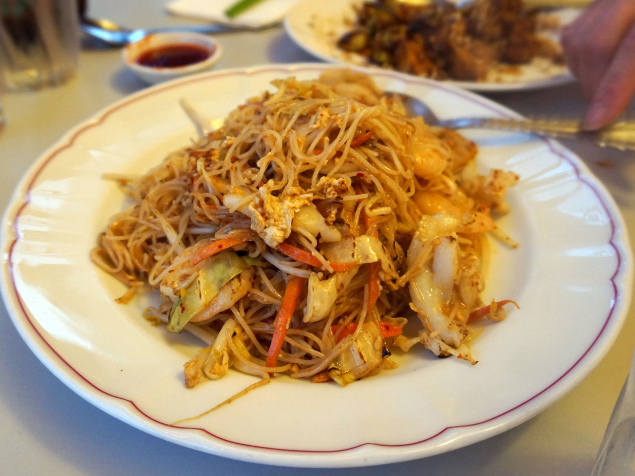 Geylang Sambal Bee Hoon - 'Spicy sambal wok fried rice vermicelli & vegetables with choice of seafood, chicken or vegetables' {$12}