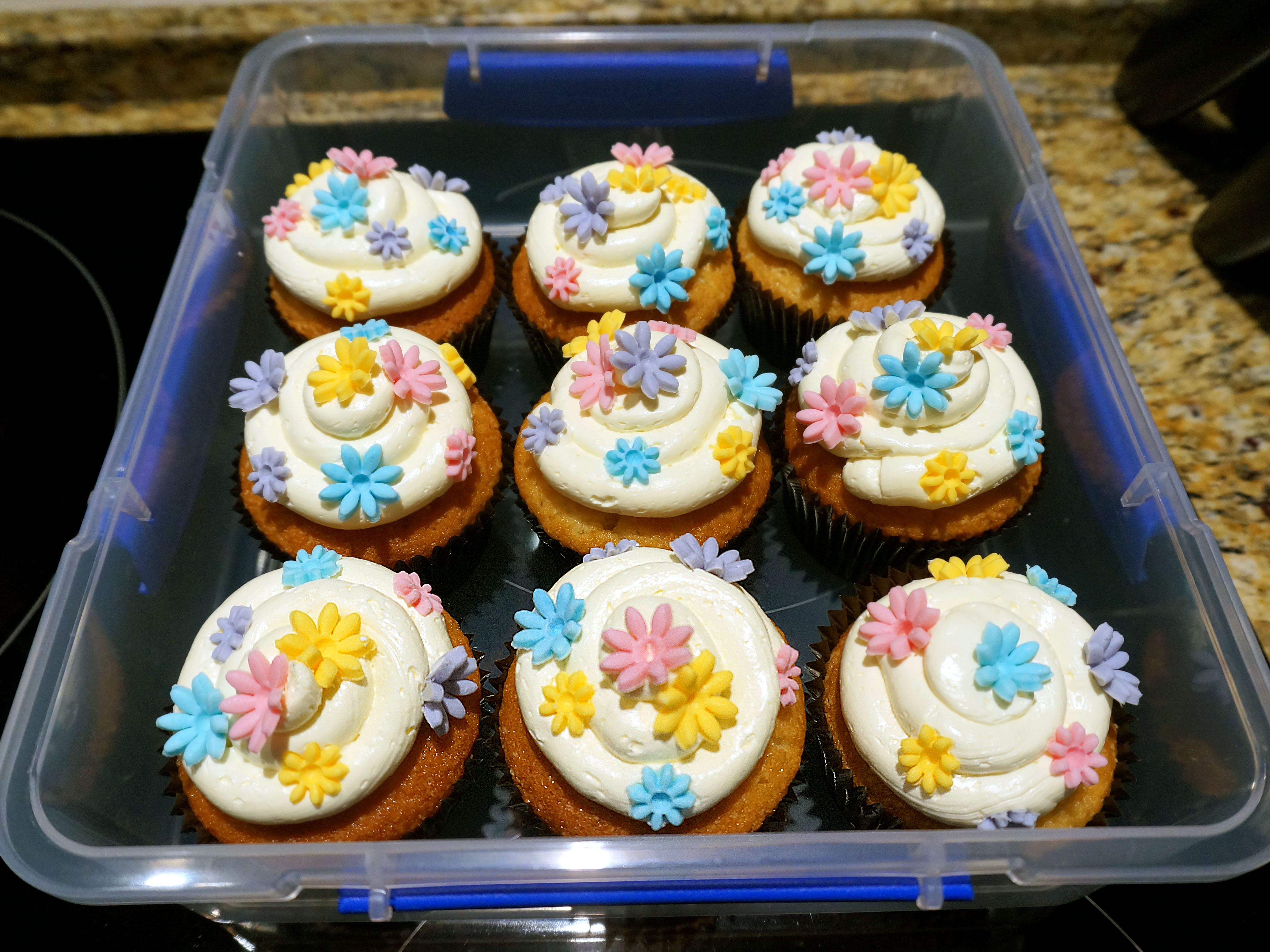 My preferred method of cupcake storage!  But they're obviously at their best eaten immediately... :D