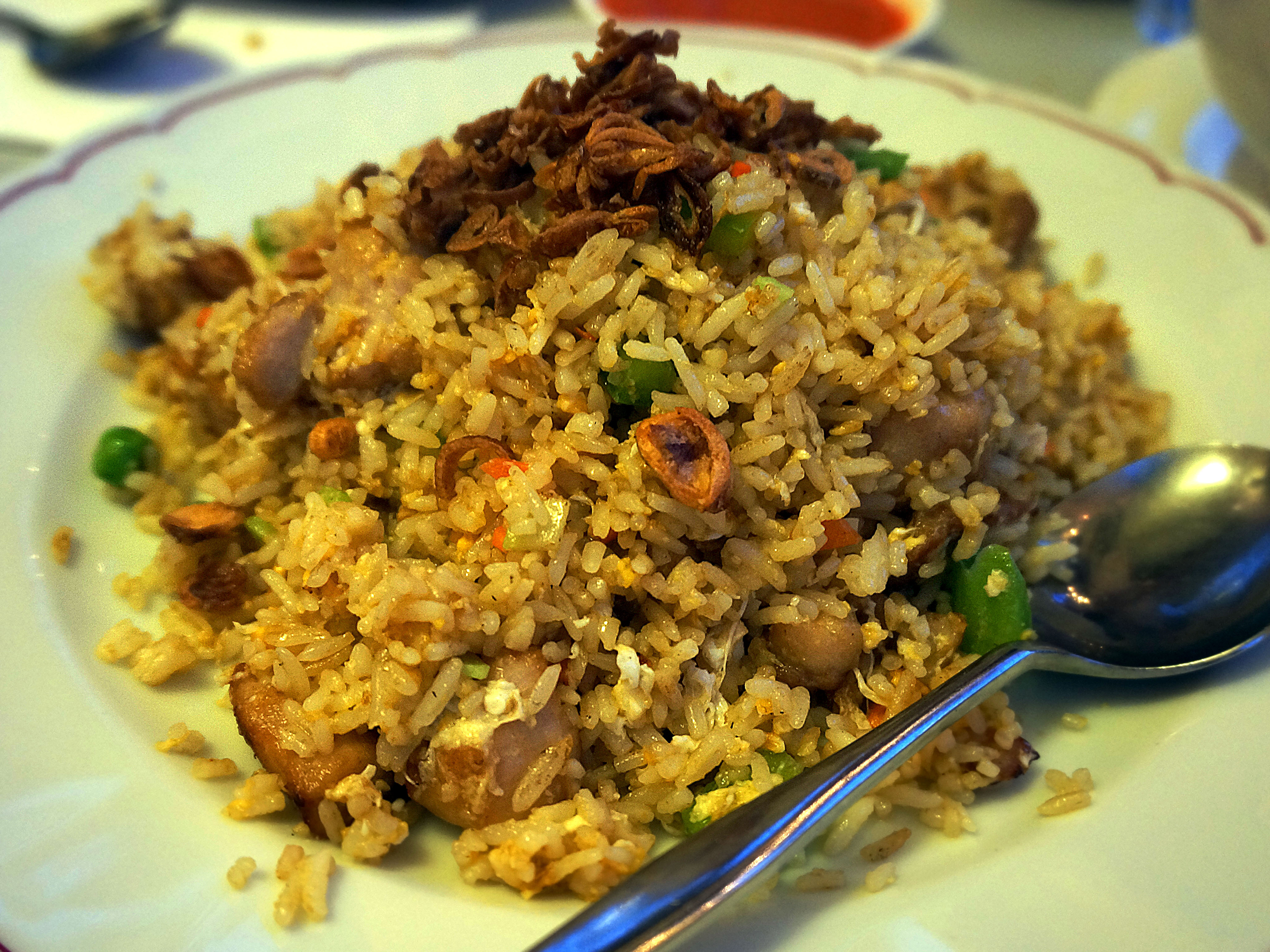 Old Fatty's Chicken Fried Rice - 'An old colonial fried rice with diced chicken, peas, carrots & eggs' {$12}