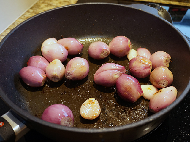 browning the shallots