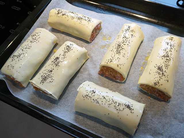wrap in frozen all-butter puff pastry and use egg wash