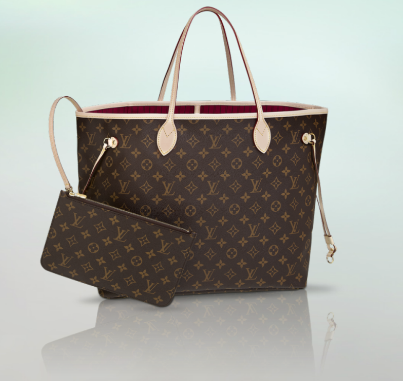 LV Neverfull GM with fuchsia lining and removable zippered clutch $1410 ($1170 without clutch)