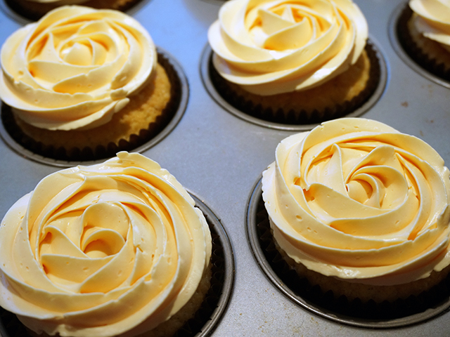 topped with swiss meringue buttercream